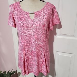 Notations pink  blouse with silver accent NEW